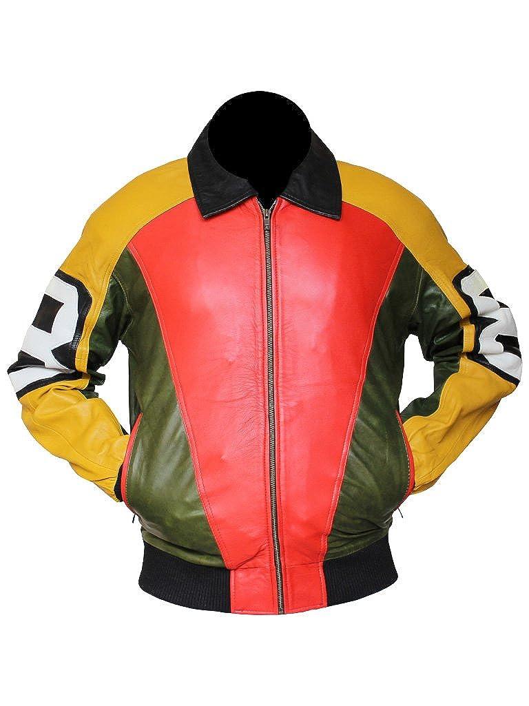 Louis Marco Men's 8 Ball Bomber Yellow & Orange Leather Jacket Gen1leathers