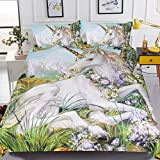 Sleepwish Unicorn Bedspread Horse Flowers Fairytale Bedding 3 Pieces Green Plant Bed Set for Adults Teens (Full)