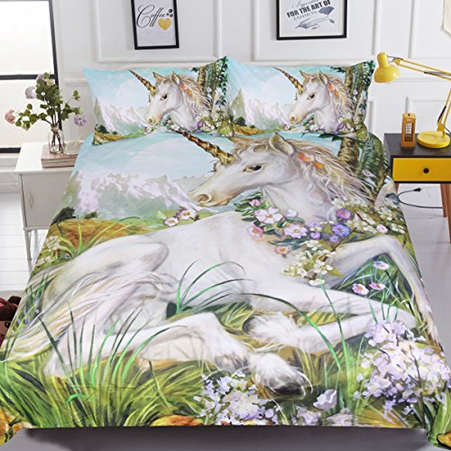 dspread Horse Flowers Fairytale Bedding 3 Pieces Green Plant Bed Set for Adults Teens (Full) ()