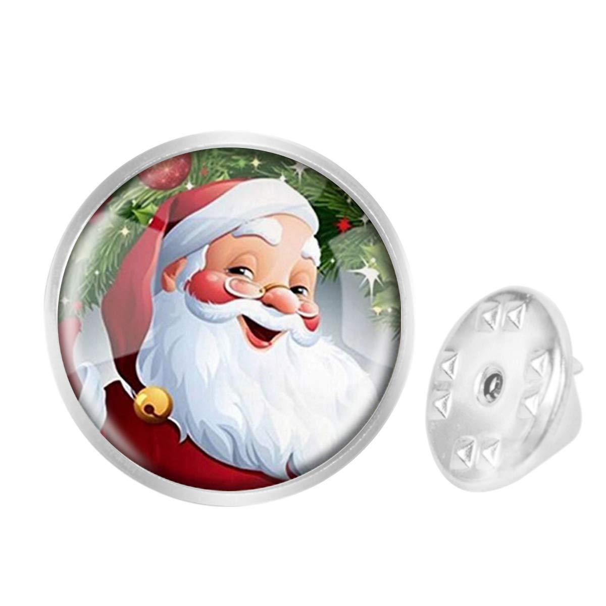WAZZIT Round Metal Tie Tack Hat Lapel Pin Brooches Santa Christmas Banquet Badge Enamel Pins Trendy Accessory Jacket T-Shirt