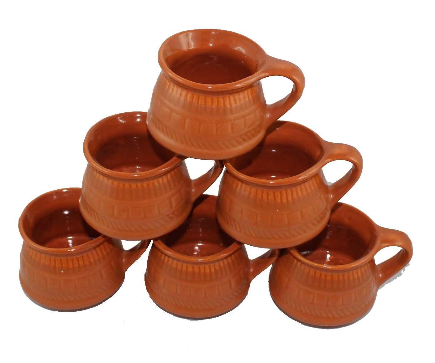 Creativegifts Ceramic Kulhar Cups Reusable Traditional Indian Chai Tea Cup (Set of 6. 100 ml each)