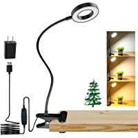 DLLT Dimmable Clip on Light, 48 LED USB Book Reading Light, Color Changeable Night Light Clip on for Desk, Bed Headboard…