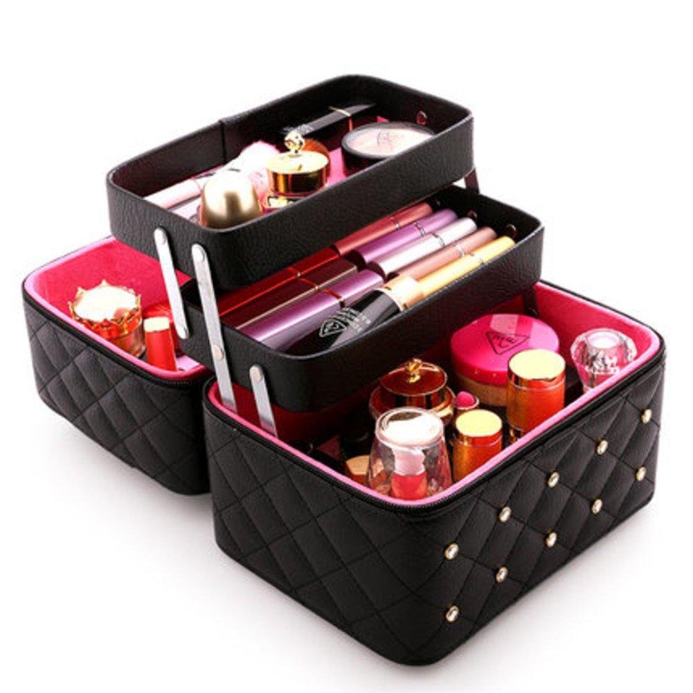 Raster Kosmetiktäschchen Große kapazität Einfache Portable Multi-layer Home Multifunktionale Aufbewahrungsbox Make-up taschen reisen Kulturbeutel für frauen Mit spiegel-Rot C 24x17x22cm(9x7x9inch) B07DWYKSBC Kosmetiktschchen