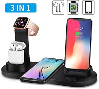 Wireless Charger, TIAMAT 3 in 1 Wireless Charging Stand,Charging Station for Multiple Devices, Qi Fast Wireless Charging Dock Compatible iPhone X/XS/XR/Xs Max/8/8 Plus/Airpods and More