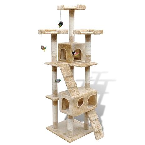 Anself Rascador Gato – Árbol para Gatos Árbol con Huella de pezuña 170 cm Beige