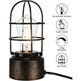Haian Touch Table Lamp Bedside 3 Way Dimmable Vintage Wrought Iron Edison Desk Lamp Industrial Touch Light Bedside Steampunk Antique Nightstand Lamp for Living Room,LED Bulb Not Included