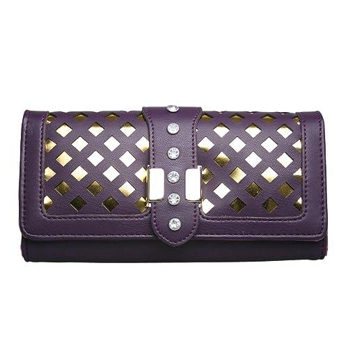 Miss Lulu - Ladies caja Laser Cut Out Monedero Cartera de Embrague, color Morado, talla: Amazon.es: Zapatos y complementos
