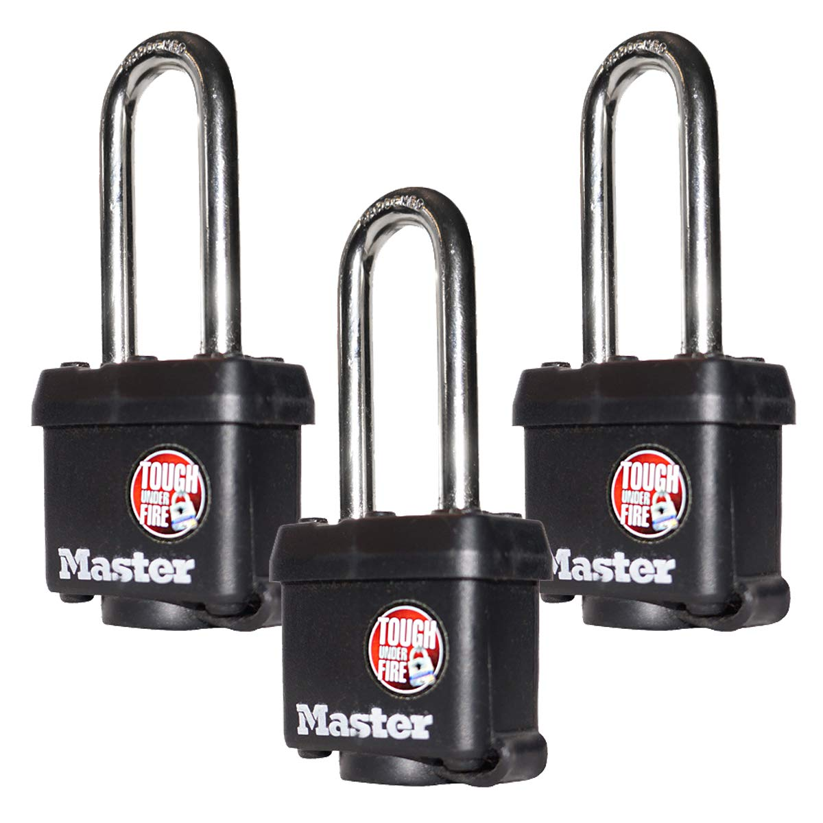 Master Lock (3 Keyed Alike Padlocks w/Thermoplastic Coating and 2''(51mm) Tall Shackle - Model # 311KALH-3 by Master Lock
