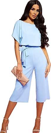 Longwu Mujeres Casual Elegante Cintura Alta Mono de Manga Corta Pantalones de Pierna Ancha Ocasionales Mamelucos Sueltos con cinturón