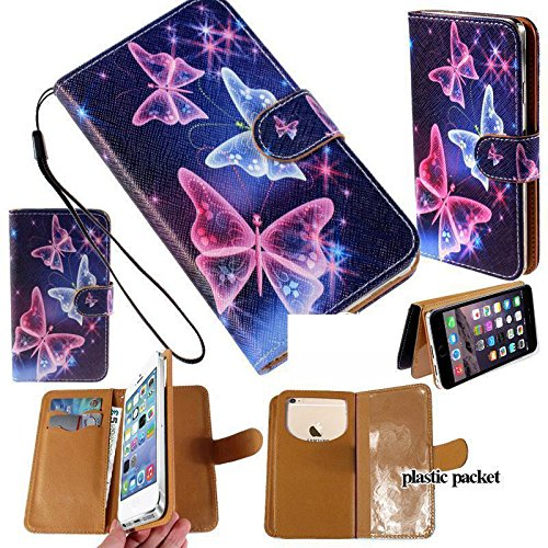 Universal PU Leather Strap Case/Purse/Clutch Fits Apple Samsung LG etc. Blue/Purple Butterflies -Small. Magic Sticker Attaches Phone to Wallet. Strong Adhesive/Easy Remove. Fits Models Below: