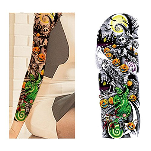 Oottati Extra Large Temporary Tattoos Arm Halloween Pumpkin Green Ghost Skeleton Moonlight Night Horror Skull Evil Old School