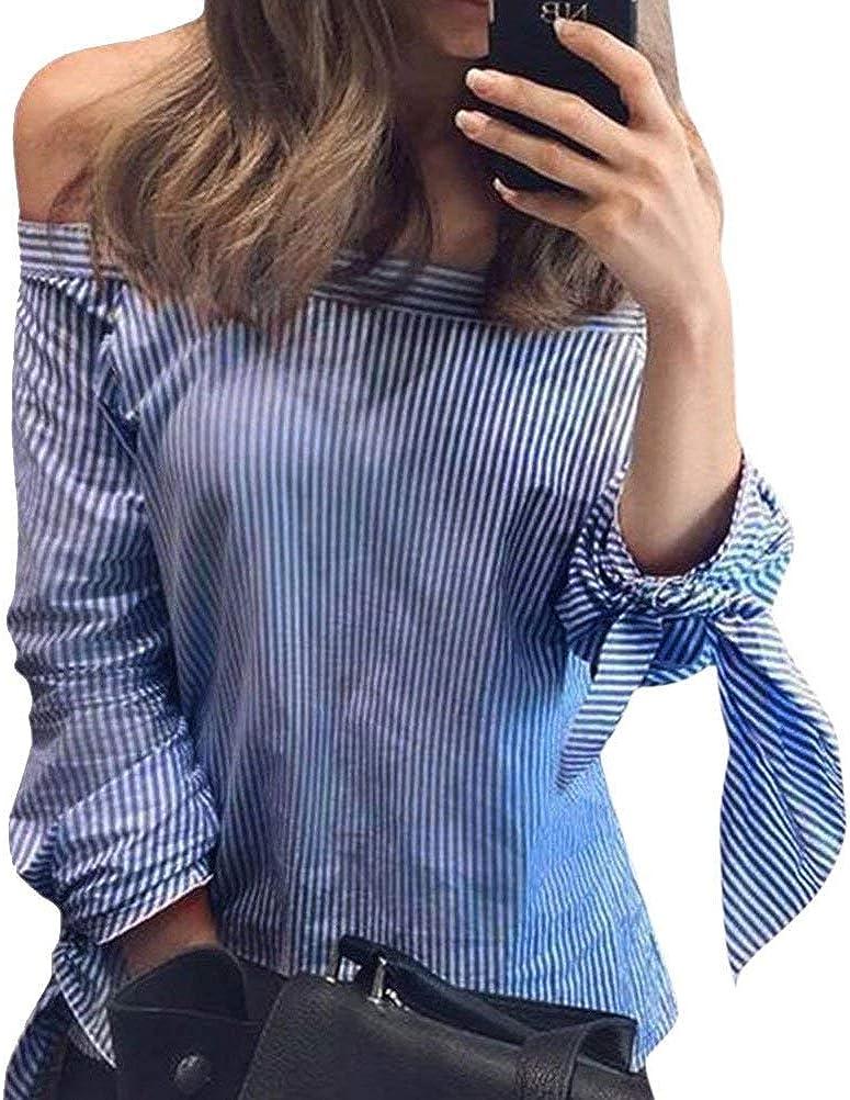 Blusas Mujer Verano Colores Sólidos Fashion Festival Elegantes Camisa de Moda Anchas Casuales Hipster Hipster Camisas Sin Tirantes Barco Cuello Abiertas Manga Larga con Lazo Irregularmente Top: Amazon.es: Ropa y accesorios