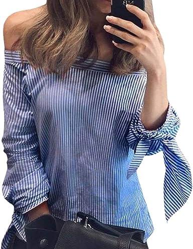 Blusas Mujer Verano Colores Chic Sólidos Camisa Ropa Anchas Casuales Hipster Hipster Camisas Sin Tirantes Barco Cuello Abiertas Manga Larga con Lazo Irregularmente Top Camisetas: Amazon.es: Ropa y accesorios