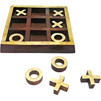 "Ages Behind Wooden Crosses Tic Tac Toe 5"" Board Games for Kids - Brain Teaser"