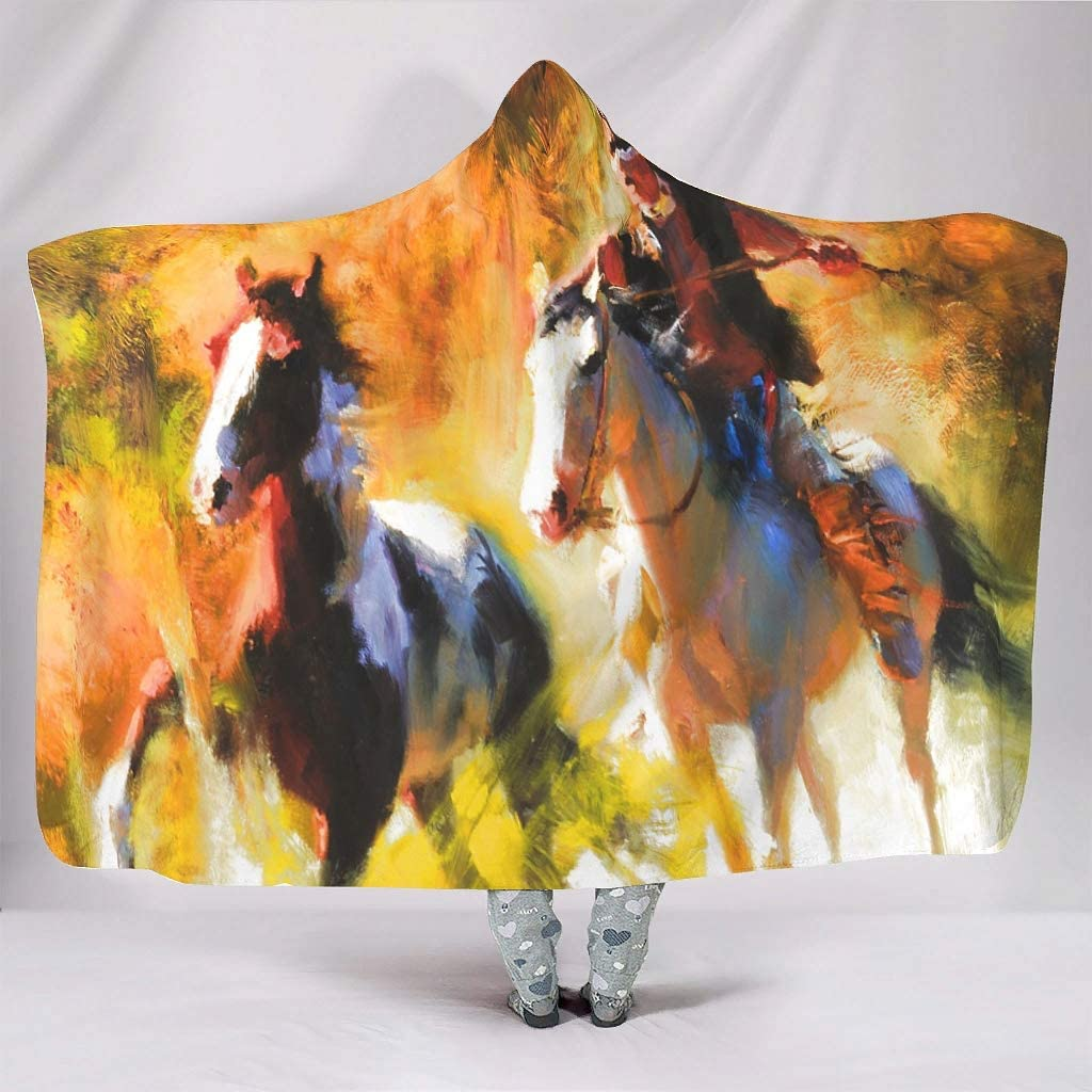 Manta muy suave con capucha, diseño abstracto indio, para niñas, con estampado de caballos, cálida, invierno, tradicional, 150 x 200 cm, color blanco