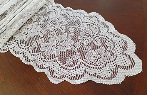 Goldstream Point White 108 Inch X 9 Inch Lace Table Runner Narrow Wedding  Chair Sash Roll Extra Long