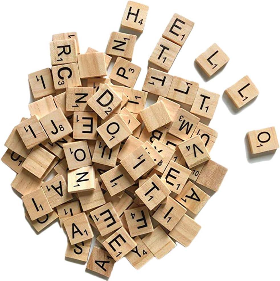 Sahgsa Alfabeto de Madera número de Scrabble Alfabeto Mosaico Bloques de Letras para Juegos de Mesa Marcos de Boda: Amazon.es: Hogar