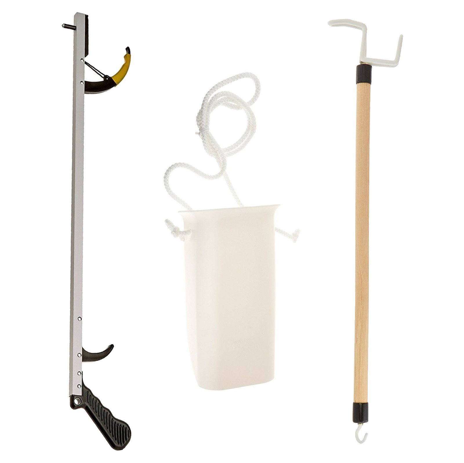 Sammons Preston Assistive Device Kit 5, Includes 26'' SPR Reacher, Wide Sock Aid & 26'' Dressing Stick, Adaptive Dressing & Independent Daily Living Aid for Those with Limited Reaching Ability