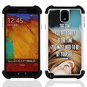 /Skull Market/ - The time you feel lonely is the time By yourself For Samsung Galaxy Note3 N9000 N9008V N9009 - 3in1 h????brido prueba de choques de impacto resistente goma Combo pesada cubierta de la caja protec -