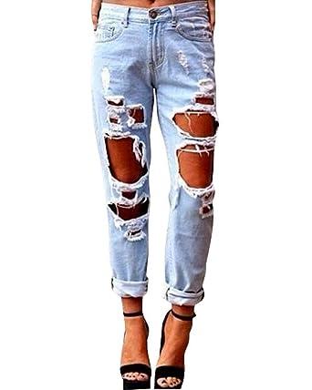 Pantalones Vaqueros Damas Novio Agujero Rasgado Color Sólido ...