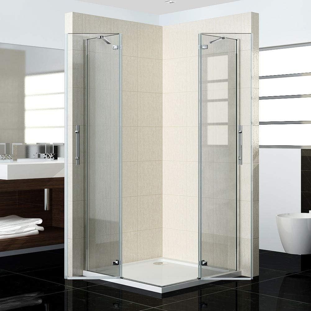 100 x 80 X185cm ducha mampara de entrada por la esquina de bisagra-puerta de la ducha Nano Cristal HN10-2E + HN80-2E: Amazon.es: Bricolaje y herramientas