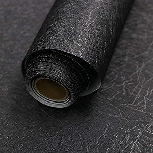 "15.7"" X 118"" Black Silk Wallpaper Embossed Self Adhesive Peel and Stick Wallpaper Removable Kitchen Wallpaper Vinyl Black Wallpaper Cabinet Furniture Countertop Shelf Paper"