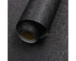 "15.7"" X 118"" Black Silk Wallpaper Embossed Self Adhesive Peel and Stick Wallpaper Removable Kitchen Wallpaper Vinyl Black Wal"