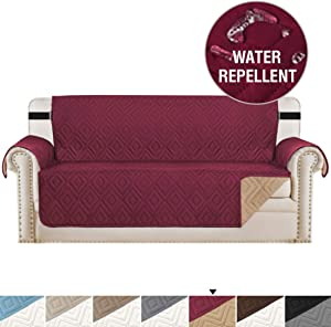 """H.VERSAILTEX Reversible Sofa Slipcover Furniture Protector Water Resistant 2 Inch Wide Elastic Straps Sofa Cover Couch Covers Pets Kids Fit Sitting Width Up to 78"""" (Oversized Sofa, Burgundy/Beige)"""