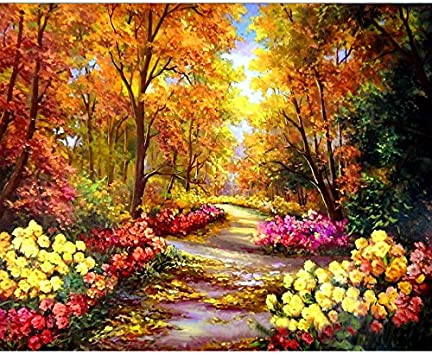 Tocare Acrylic Adult Paint By Number Kits For Adults Canvas Romantic Countryside Scenes Painting For Home Wall Decor 16x20inch Landscape Pattern