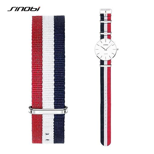 SINOBI Casual Women Nato Nylon Stripe Watchband, Unisex Sport Buckles Canvas Strap Elastic Men Wristbands