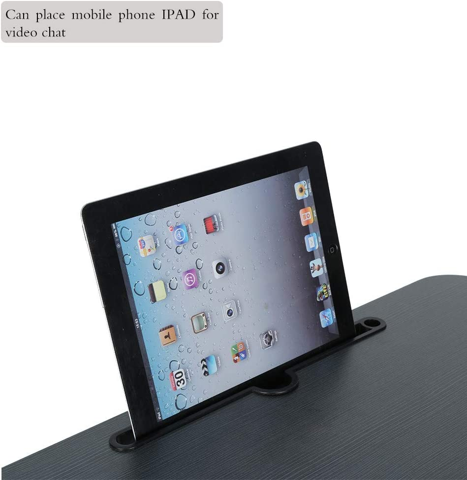 NIHAI Simple Foldable Lazy Laptop Desk Tablets Horseshoe Feet Shape Card Slot Design Can Used to Place Mobile Phones Large Bed Tray Small Desk 23.6x15.7x11 inches