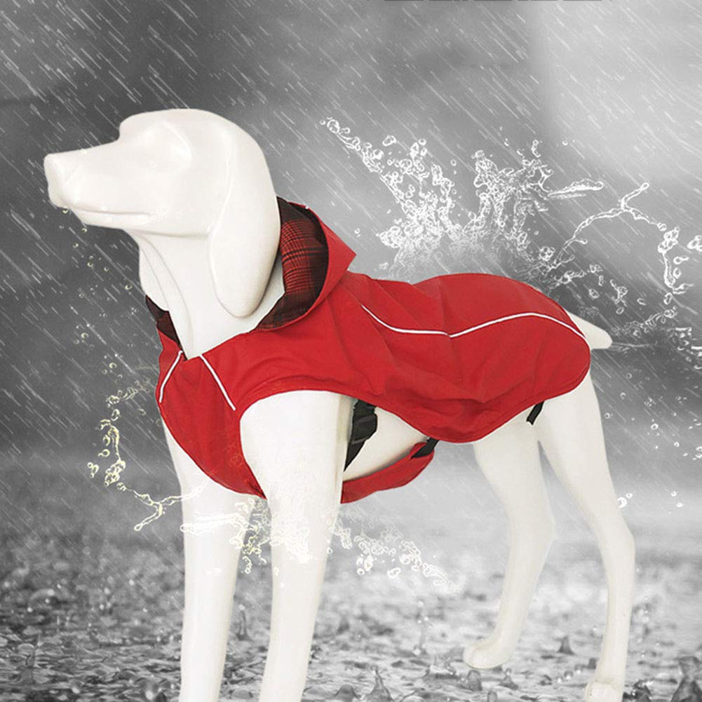 Red XLWaterproof PU Dog Raincoat, Stylish Plaid Print Inside, Pet Hooded Jacket with Reflective Strip, Suit for Big Size