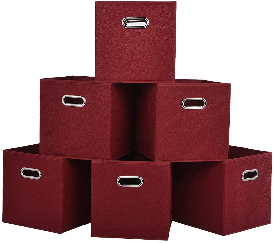 Embossed Claret Red 2 Metal Handles Foldable Storage Cubes, Home Decorative Fabric Drawers Clothes Organizer Storage Bin, 6 Pack