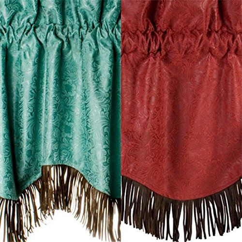 Faux Tooled Leather Western Valance, Turquoise For Sale