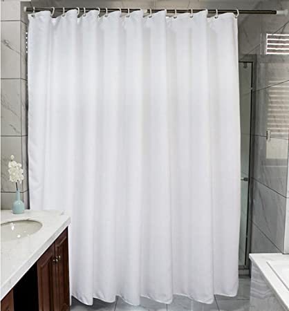 JDUS Shower Curtain WhiteWaterproof Polyester Fabric LinerMidew Resistant Washable Bath