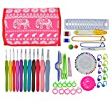 OldShark Crochet Hooks 2mm to 8mm 11 Sizes, Ergonomic Rubber Grip Knitting Needles, with 79 Accessories, Full Size Crochet Kits with Organizer Case, Red