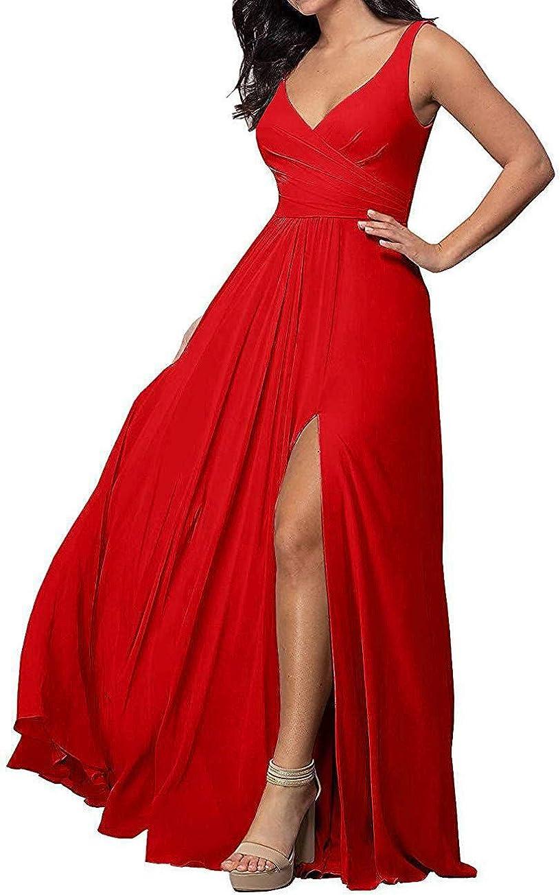PEARL BRIDAL HOUSE Women's Long Chiffon Prom Dress 2019 Sleeveless Wedding Formal Dresses