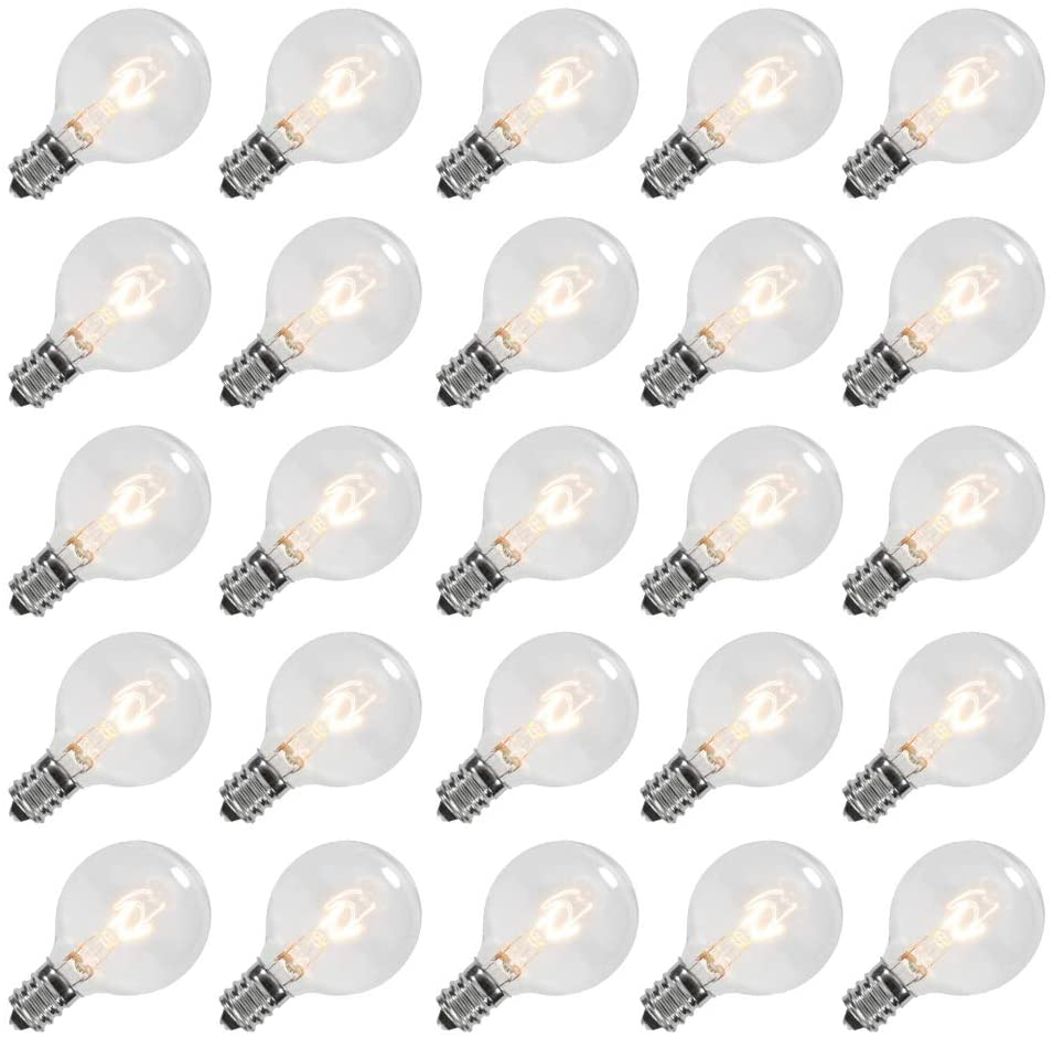 Goothy Clear Globe G40 Screw Base Light Bulbs Replacement 1.5-Inch, E12 Base, 25 Pack