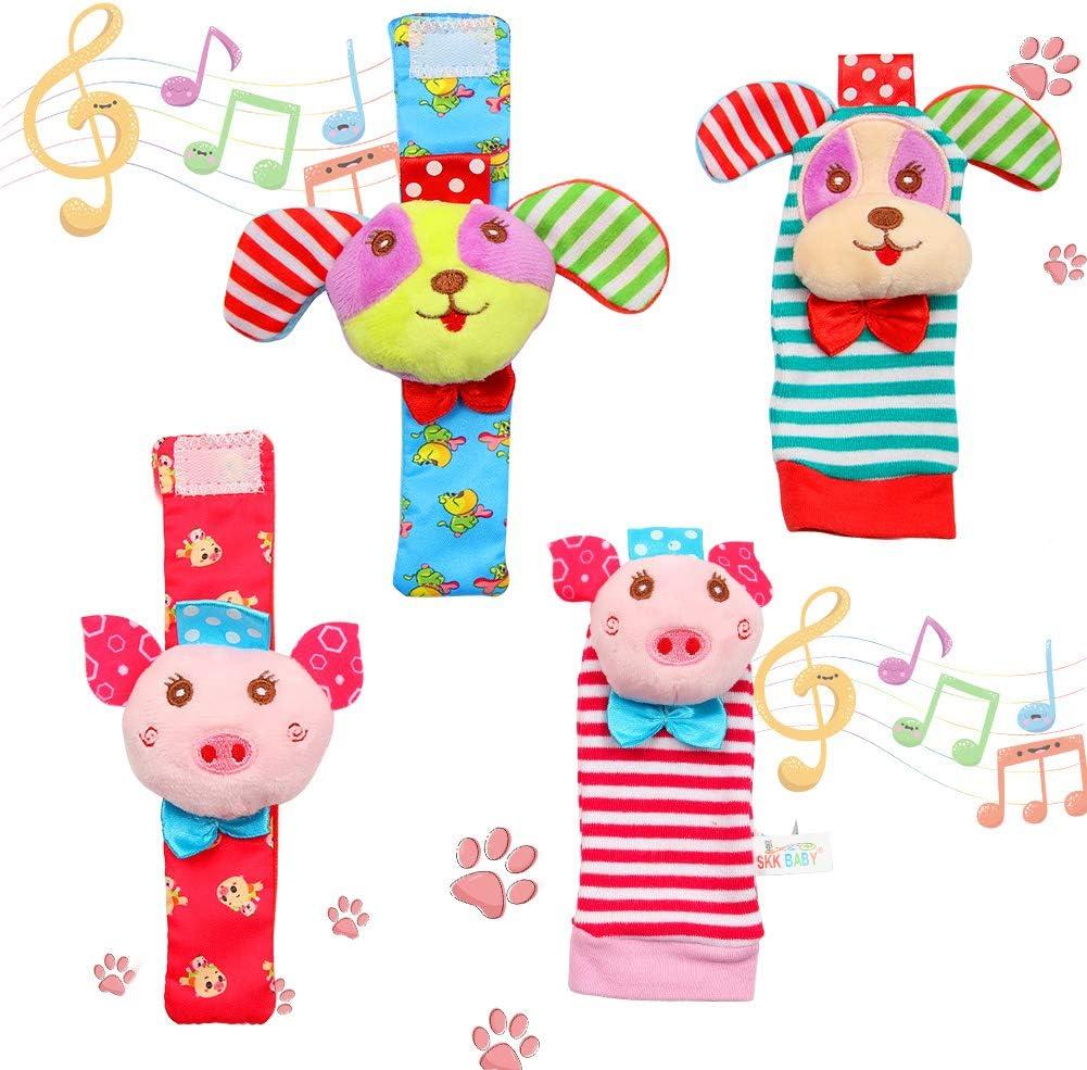 Twister.CK Paquete de 4 Sonajeros para muñeca y Calcetines para Buscar pies, Adorable Animal Infant Baby Rattles Mejor Regalo Juego de Juguetes de Desarrollo: Cachorros y cerditos