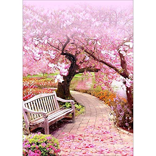 Sttech1 5D Full Diamond Painting by Number Kits, Cherry Blossom Road 40X30CM (Pink)