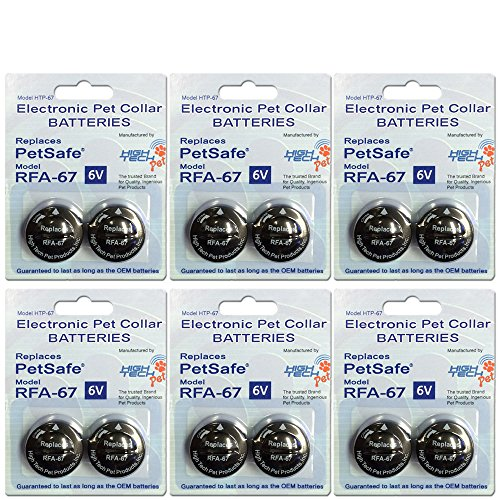 (High Tech Pet RFA-67 Petsafe Compatible 6-volt Trusted Electronic Pet Collar Replacement Battery - (12) Pack)