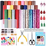 KUUQA 30 Pcs Faux Leather Fabric Sheet 6 Kinds of Leather Fabric for Earring Making Crafts with Hole Puncher, 210 Set Earring Hooks, Pliers and Cut Molds ( A5 Size)