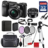 Sony Alpha a6000 Mirrorless Digital Camera (Black) with Sony 16-50mm f/3.5-5.6 OSS Lens (Black) + Professional Accessory Bundle