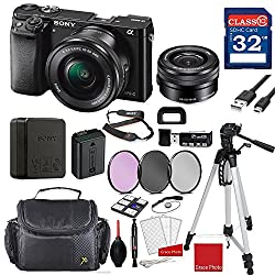 Sony Alpha A6000 Mirrorless Digital Camera (Black) With Sony 16-50mm F3.5-5.6 Oss Lens (Black) + Professional Accessory Bundle