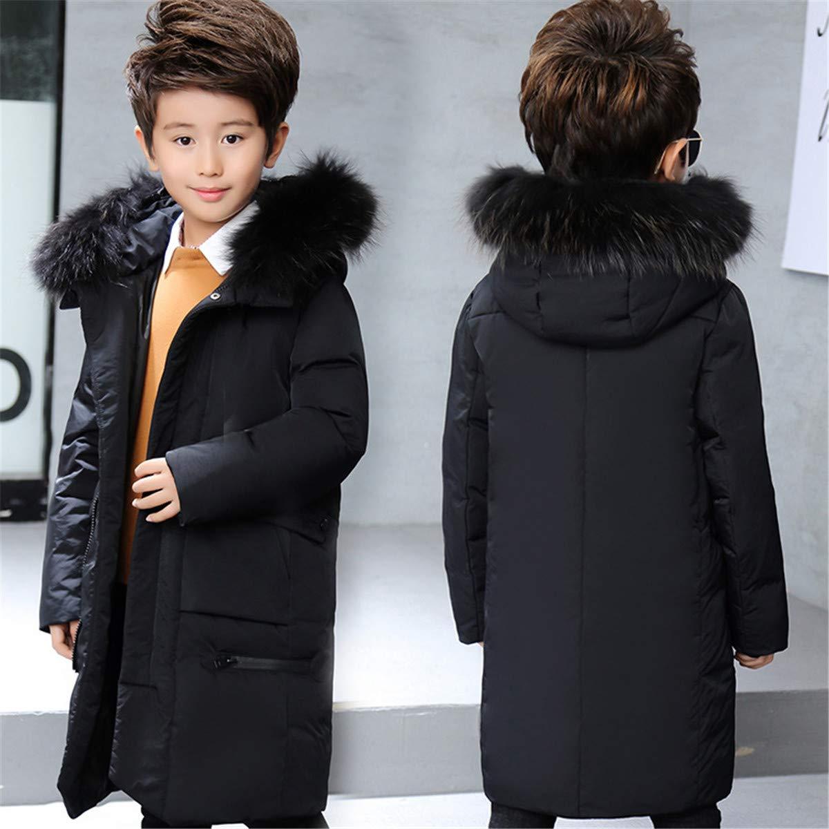 JELEUON Big Boys Zipper Hooded Soild Size Pocket Fur Trim Winter Warm Long Snowsuit Puffer Down Jacket Coat Outwear