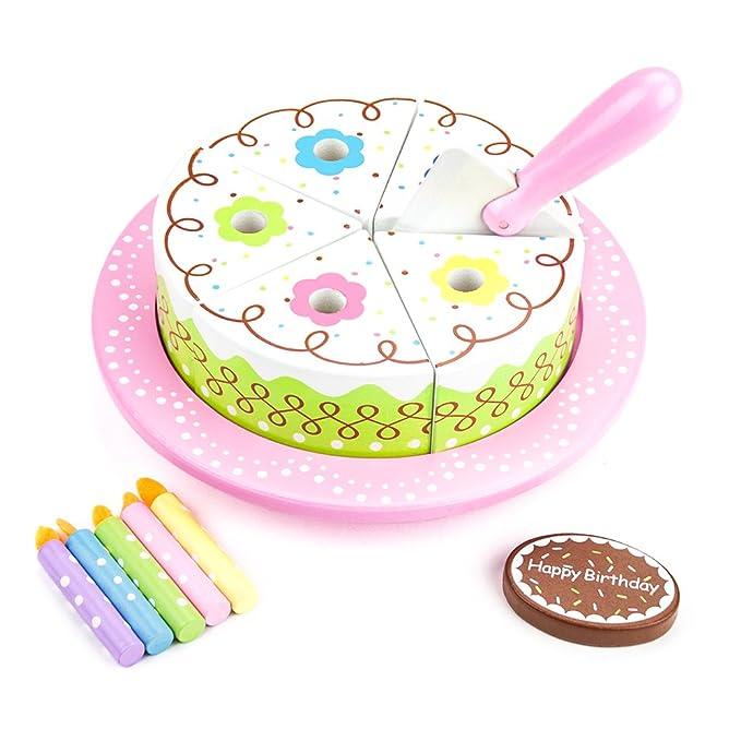14679e65d Amazon.com: Imagination Generation Wood Eats! Happy Birthday Party Cake:  Toys & Games