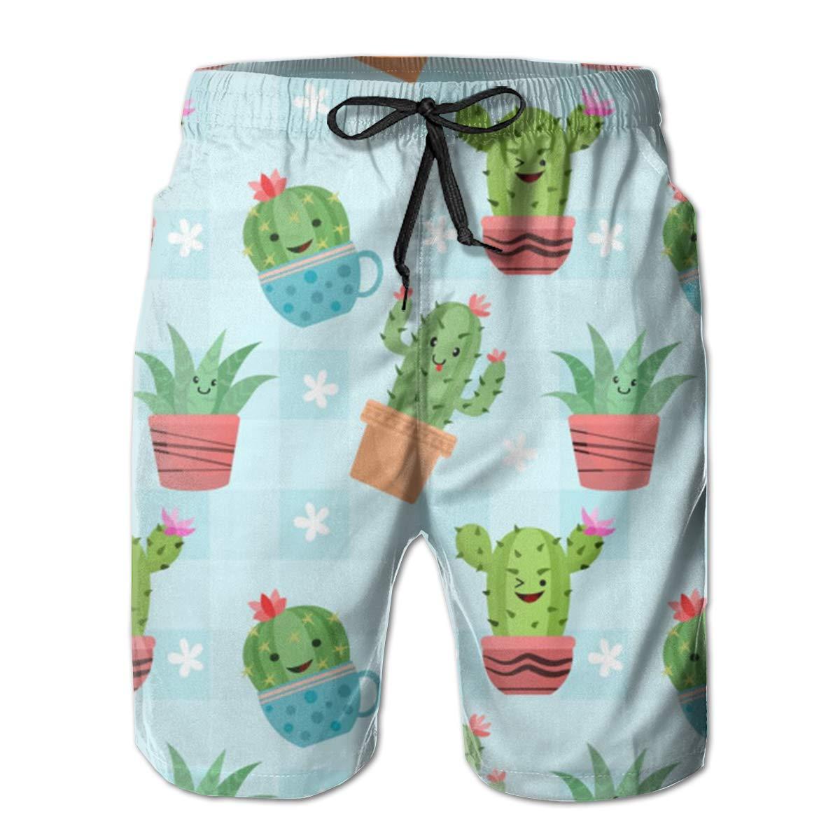 WMDJEG Cute-Cactus-pots Mens Summer Beachwear Sports Running Swim Board Shorts Mesh Lining