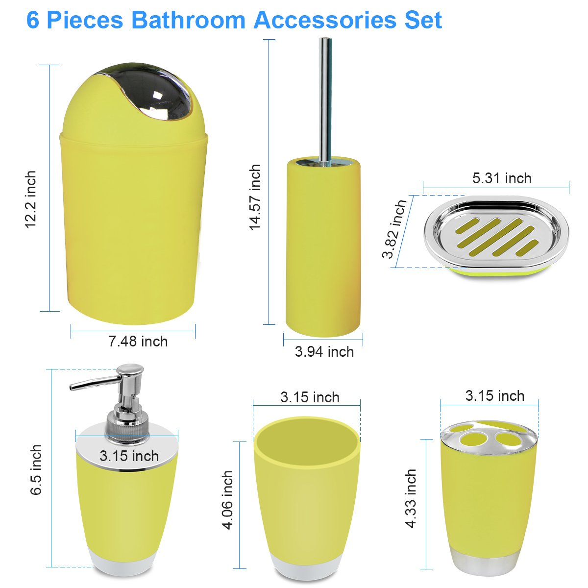 Amazon.com: Yellow Bathroom Accessories Set 6 Pieces Plastic ...