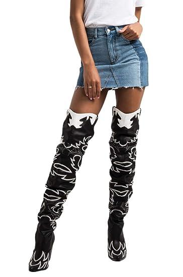 506f68b6347 CAPE ROBBIN Sexy Thigh High Rihanna Kylie Country Western Heeled Cowboy  Boots