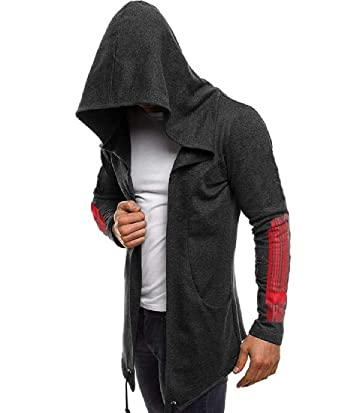 Maisicolis Men Long Sleeve with Pocket Floral Wild Open Front Hooded Top Hoodies